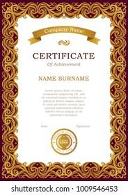 ornate gold frame border.  Ornate Vector Vintage Frame In Eastern Style Premade Certificate Template With  Golden Tracery In Ornate Gold Frame Border E