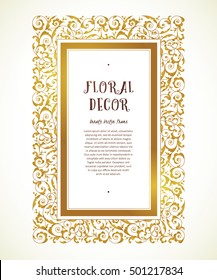 Vector vintage frame in Eastern style. Ornate floral element for design. Ornamental illustration, luxury decor for certificate, diploma, patent. Place for text. Golden rectangle frame.