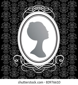 Vector vintage frame on the background of a seamless pattern. Insert your text or image.