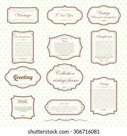 Vector of vintage frame set on pattern retro background. Calligraphic design elements.