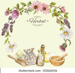 Vector vintage frame with wild flowers and herbs.Layout, mock up design for cosmetics, store, beauty salon, natural and organic products. Can be used like a greeting card. With place for text