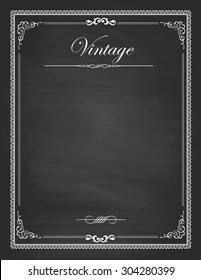 Vector of  vintage frames, blank black chalkboard design. Illustration eps10