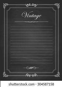 Vector of  vintage frames, blank black chalkboard design. Illustration eps10