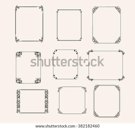Vector Vintage Frames Decorative Frames Set Square Stock Vector