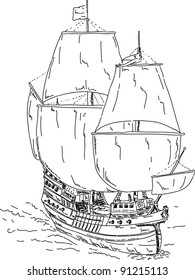 vector - Vintage Frigate , hand draw, islolated on background