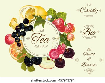 Vector vintage fruit and berry round banner .Design for tea, ice cream, jam, natural cosmetics, candy and bakery with fruit filling, health care products.. Can be used as logo design