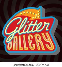 Vector vintage glitter gallery sign, LED advertising