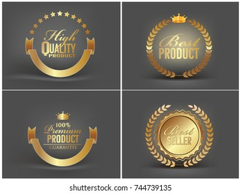 Vector vintage  gold badge collection of high quality, best product,premium product,best seller .