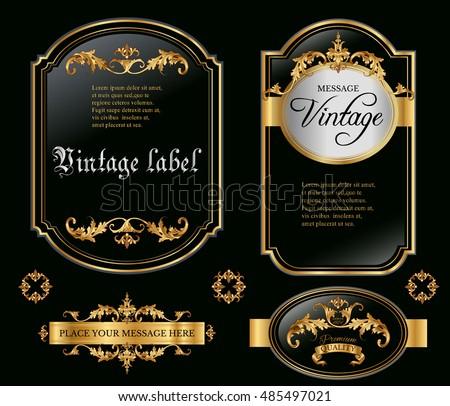 a333204e609 Vector vintage gold framed labels set. Golden on black. Baroque style  premium quality label