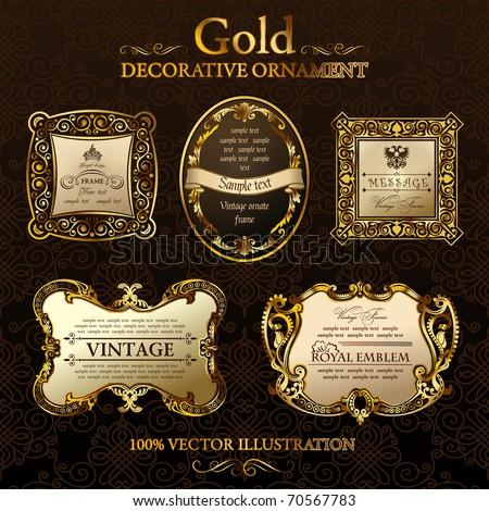 ebb61f98412 Gold ornament label. Set five illustrations. Gold vintage frame ornament.  Calligraphic elements set. Vector Gold black frames decor set label. -  Vector