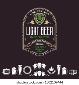 Vector vintage gold, white and green beer label and icons on a brown background for brewhouse, bar, pub, brewing company branding and identity.