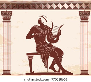 Vector vintage Greek national drawing the man is playing on the harp. Brown pattern on a beige background with the aging effect.
