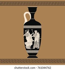Vector vintage Greek vase with national ornaments and with the image of Apollo and Artemis..