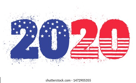 Vector vintage greeting card with 2020 for Christmas and New year. Election 2020 like american flag. Vote 2020.