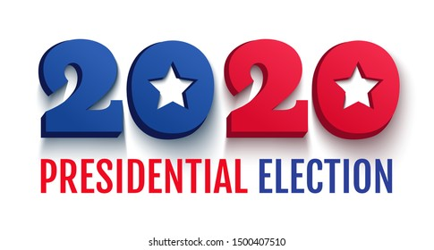 Vector vintage greeting card for 2020 presidential election in USA. Election 2020 like the American flag. Vote 2020.