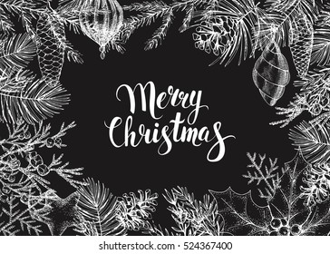 Vector vintage greeting card. Hand drawn conifers: fir, larch, juniper, pine, spruce. Sketch. Frame with conifers branches, cones and decorations. Handwritten inscription Merry Christmas. Black.