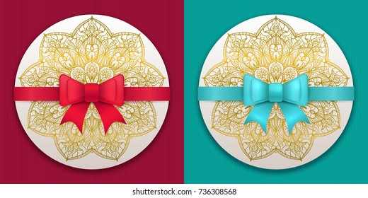 Vector vintage greeting card templates with bow and ribbon. Wedding invitation design. Anniversary template for any celebration. Marriage, birthday, christmas, baby shower flyer.