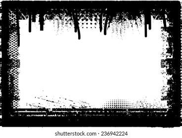 Vector Vintage Grunge Black and White Distress Border Frame for your Design .,