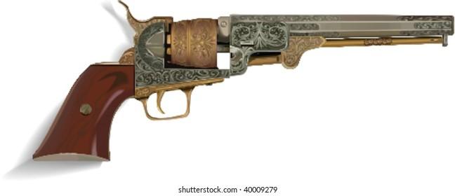 Vector vintage gun, vector illustration