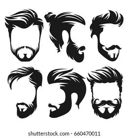 Vector vintage hairstyle barber shop logo for your design