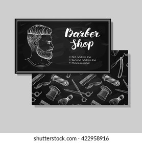 Vector vintage hand drawn Barber Shop business cards. Detailed illustrations  of Hipster man with beard, mustage, scissors, ribbon, whisker and lettering styled text.