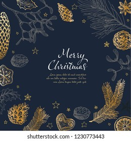 Vector vintage hand drawn Christmas card template with various seasonal shapes - ginger breads, mistletoe, cone, nuts - dark version