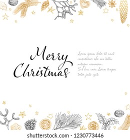 Vector vintage hand drawn Christmas card template with various seasonal shapes - ginger breads, mistletoe, cone, nuts