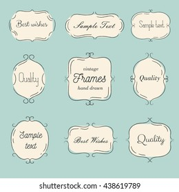 Vector vintage hand drawn frames set. Cartoon style. It's can be used for wedding invitations, gift cards, menu and logo.