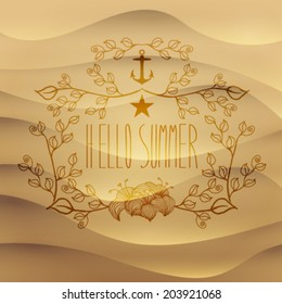 Vector vintage hand drawn hello summer cute, leafs frame on sand background, illustration