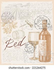 vector vintage hand drawn illustration of wine