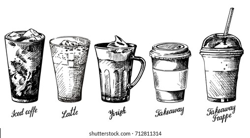 Vector vintage hand drawn illustration of different types of coffee drinks. Iced coffee, latte, irish, takeaway and frappe design elements for menu, banner, poster.