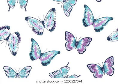 Vector vintage hand drawn seamless pattern of beautiful colorful butterflies on a white background. Pink and blue butterflies illustration
