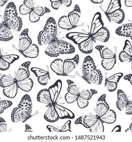 Vector vintage hand drawn seamless pattern with beautiful dark blue outline butterflies on a white background