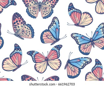 Vector vintage hand drawn seamless pattern with beautiful colorful butterflies on a white background
