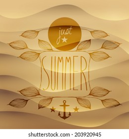 Vector vintage hand drawn summer cute, leafs and message on sand background, illustration