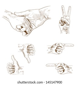 Vector vintage hands signs collection, retro styled hand drawn design elements set.
