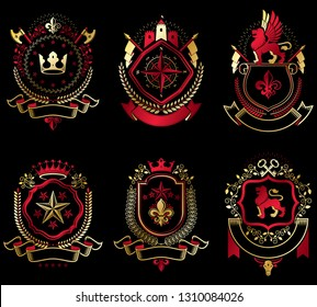 Vector vintage heraldic Coat of Arms designed in award style. Medieval towers, armory, royal crowns, stars and other graphic design elements collection.