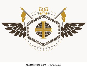 Vector vintage heraldic coat of arms created in award design and decorated using keys and Christian religious cross