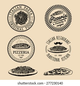 Vector vintage hipster italian food logos. Modern pasta and pizza signs or emblems. Hand drawn mediterranean cuisine illustrations. Traditional southern europe meal sketches in ink style.