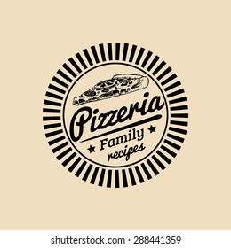 Vector vintage hipster italian food logo. Modern pizza sign. Hand drawn mediterranean cuisine illustration. Traditional southern europe meal sketch in ink style.