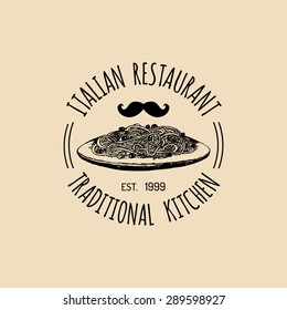 Vector vintage hipster italian food logo. Modern pasta sign or icon. Hand drawn mediterranean cuisine illustration. Traditional southern europe meal sketch in ink style.