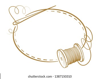 Vector vintage horizontal oval frame with sewing tools