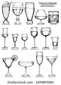 Vector vintage illustration with hand drawn different types of glasses.  Design for bar menu.  Elements isolated on white.
