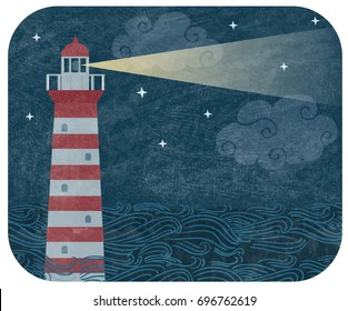 Vector vintage illustration with red and white lighthouse in the ocean in the night, with  waves, stars and clouds