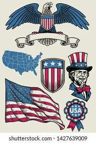 vector of vintage illustration set object of USA in hand drawn style