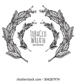 vector vintage illustration of tobacco wreath. suitable for ornament logo branding on any prints media