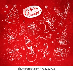 Vector vintage illustrations set with hand drawn Christmas objects on festive red background with light sparkles.