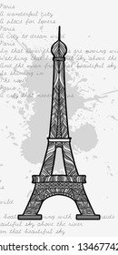 Vector vintage image with Decorative Eiffel Tower and blot of ink