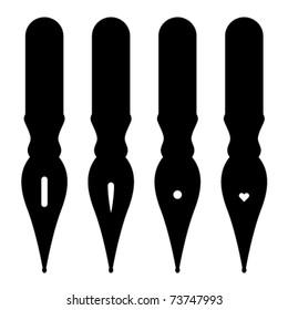 vector vintage ink pen nibs