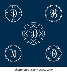 Vector vintage insignia, monogram, frame, label design template in line style.